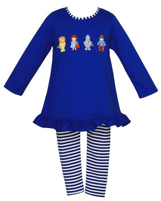 Claire & Charlie Girls Royal Blue Stripe Leggings with Wizard of Oz Tunic