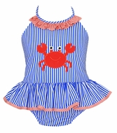 Claire & Charlie Girls Royal Blue Stripe / Red Crab Ruffle Swimsuit