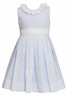 Claire & Charlie Girls Sleeveless Blue Batiste Dress - Swiss Eyelet - Ruffle Neckline