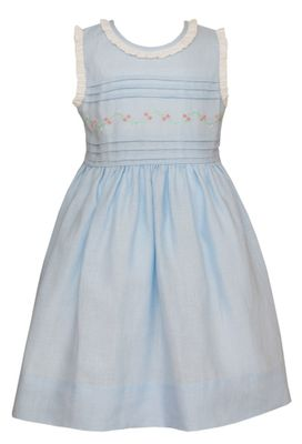 Claire & Charlie Girls Sleeveless Blue Linen Dress with Ruffle Collar & Embroidery