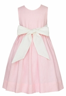 Claire & Charlie Girls Sleeveless Pink Linen Dress - Bow Sash