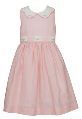 Claire & Charlie Girls Sleeveless Pink Linen Dress - Embroidered Collar & Sash
