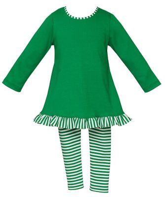 Claire & Charlie Girls Striped Leggings with Tunic Top - Kelly Green