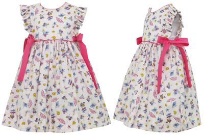 Claire & Charlie Girls Summer Vacation Print Pinafore Dress with Pink Bows at Sides