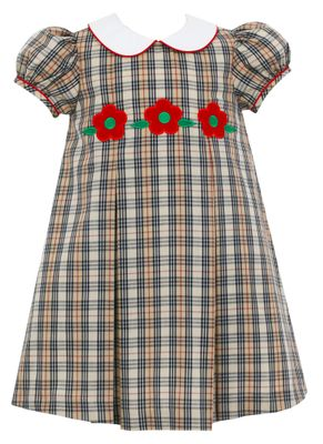 Claire & Charlie Girls Tan Burberry Plaid Pleat Dress - Red Flowers