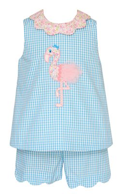 Claire & Charlie Girls Turquoise Gingham Pink Flamingo Short Set