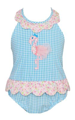 Claire & Charlie Girls Turquoise Gingham Pink Flamingo Swimsuit