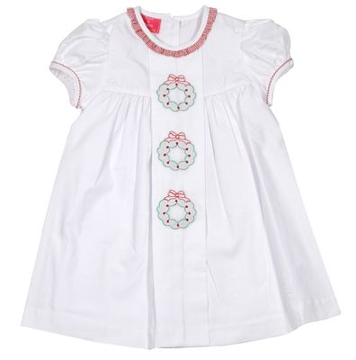 Claire & Charlie Girls White Poplin Dress - Ruffle Collar - Embroidered Christmas Wreaths