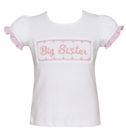 Claire & Charlie Girls White Shirt - Smocked Big Sister in Pink