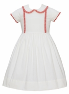 Claire & Charlie Girls Winter White Corduroy Dress - Red Gingham Ruffle Trim