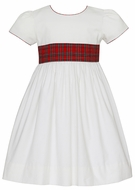Claire & Charlie Girls Winter White Corduroy Dress - Red Holiday Plaid Sash