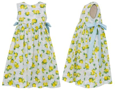 Claire & Charlie Girls Yellow Lemon Print Dress with Blue Bows at Sides