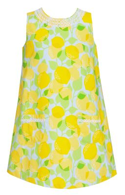 Claire & Charlie Girls Yellow Lemons Print Sleeveless Shift Dress