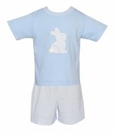 Claire & Charlie Toddler Boys Blue Seersucker Shorts Set - Easter Bunny Shirt