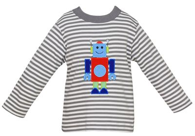 Claire & Charlie Toddler Boys Gray Striped Robot Shirt