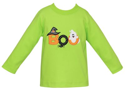 Claire & Charlie Toddler Boys Green Halloween Boo Shirt