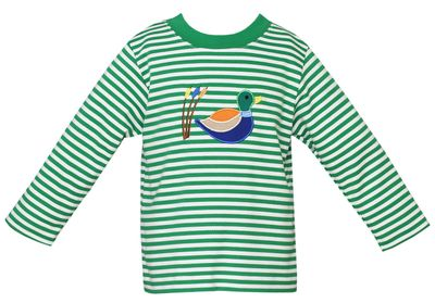 Claire & Charlie Toddler Boys Green Striped Mallard Duck Shirt