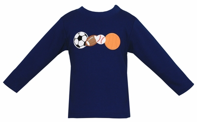 Claire & Charlie Toddler Boys Navy Blue Shirt - Applique Sports Balls