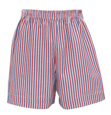 Claire & Charlie Boys Pull On Shorts - Red / Blue Stripe