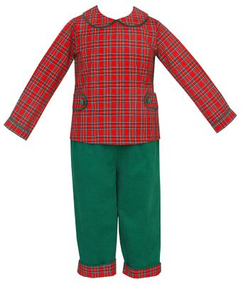 Claire & Charlie Toddler Boys Red Christmas Plaid Shirt with Green Corduroy Reversible Pants
