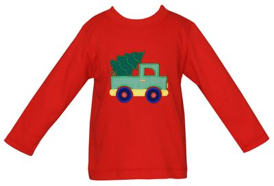 Claire & Charlie Boys Red Christmas Tree Truck Shirt