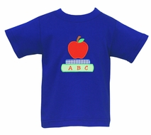 Claire & Charlie Boys Royal Blue Shirt - Applique Back to School Red Apple
