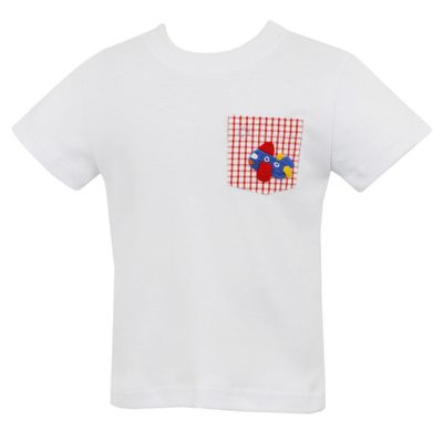 Claire & Charlie Toddler Boys White Knit Shirt - Crochet Airplane on Pocket