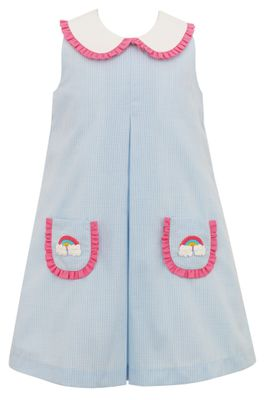 Claire & Charlie Toddler Girls Blue Check Rainbow Pockets Sleeveless Dress