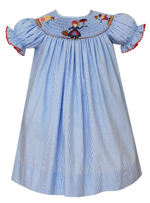 Claire & Charlie Toddler Girls Blue Check Smocked Mary Poppins Bishop Dress