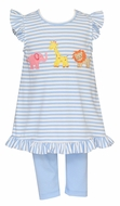 Claire & Charlie Toddler Girls Blue Stripe Safari Animals Tunic with Leggings