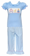 Claire & Charlie Toddler Girls Blue / White Dots Ruffle Pants with Smocked Cinderella Top