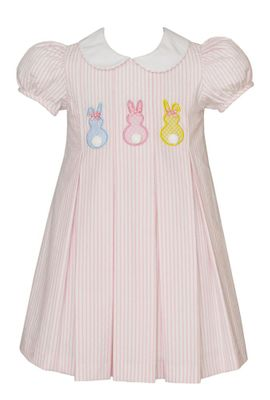 Claire & Charlie Girls Pink Stripe Seersucker Easter Bunny Peeps Dress