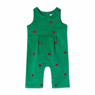 Classic Prep Baby Girls Green Cord Tabor Longall - Embroidery Apples