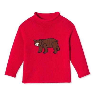 Classic Prep Boys Crimson Red Bear Intarsia Fraser Roll Neck Sweater