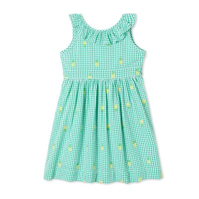 Classic Prep Girls Avery Dress - Green Check with Pineapple Embroidery - V-Back