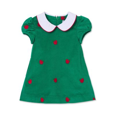 Classic Prep Girls Green Paige Dress - Embroidery Apples