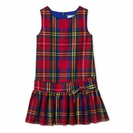 Classic Prep Girls Red Holiday Tartan Plaid Cameron Drop Waist Dress