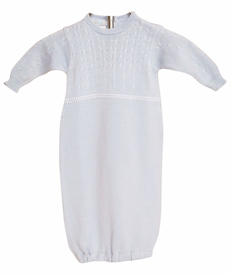 Cuclie Baby Boys Braid Gown - Sweater Knit - Blue