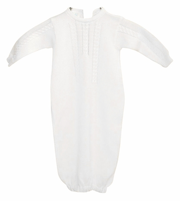 Cuclie Baby Boys Cable Gown - Sweater Knit - White