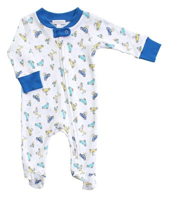 Magnolia Baby Boys Zoo Cars Driving Around Printed Zipped Footie