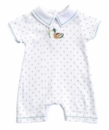 Magnolia Baby Boys Duck Pond Embroidered Short Playsuit Romper with Collar
