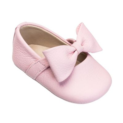 Elephantito Baby Shoes - Girls Ballerina with Bow - Pink