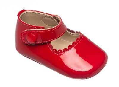 Elephantito Baby Shoes - Girls Mary Janes - Patent Red