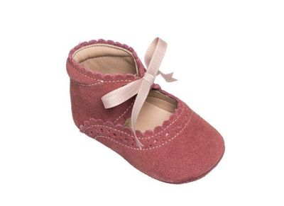Elephantito Baby Shoes - Girls Sabrina with Bow - Dusty Pink Suede