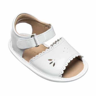 Elephantito Baby Shoes - Girls Scallop Sandals - White