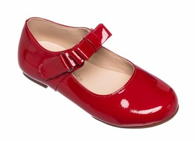 Elephantito Girls Shoes - Charlotte Mary Janes with Bow - Patent Red