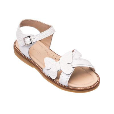 Elephantito Girls Shoes - Toddler Butterfly Crossed Sandals - White