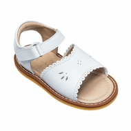 Elephantito Girls Shoes - Toddler Classic Scallop Sandals - White