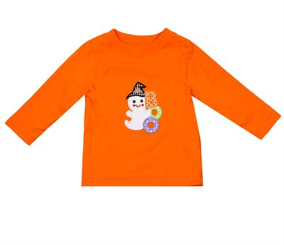 Exclusive to Best Dressed Child - Claire & Charlie Boys Orange BOO Halloween Ghost Shirt