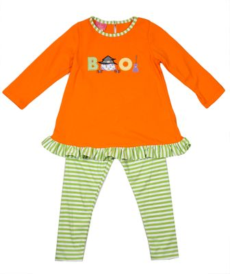 Exclusive to Best Dressed Child - Claire & Charlie Girls Tunic & Leggings Set - Orange Boo Halloween Witch with Green Striped Leggings